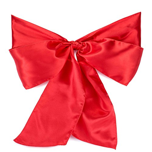 Lann's Linens - 100 Elegant Satin Wedding/Party Chair Cover Sashes/Bows - Ribbon Tie Back Sash - Red (Cover Ties Chair)