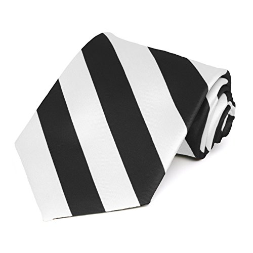 TieMart Black and White Extra Long Striped Tie - Black Polyester Extra Long Ties