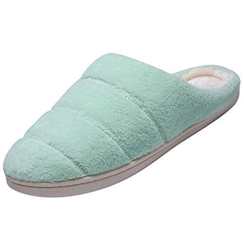 Fourrure Hiver Semelle Chaudes katliu Antidérapante Chaussons Femme Automne Solide Filles Vert Pantoufles Confortable avec Chaussures d'Intérieur FxwxBPHq