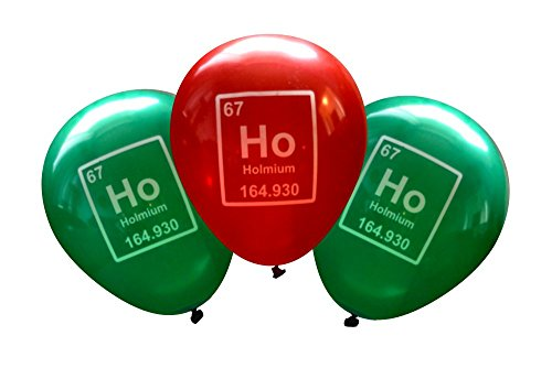 Chemistry Christmas Balloons - Ho Ho Holmium Periodic Table Element (16 pcs) by Nerdy - Periodic Canada Table