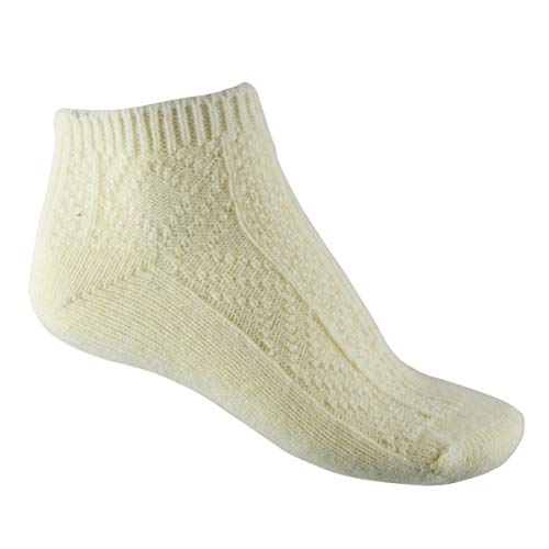 YUN Women's Natural Pure 100% Wool Traditional Cream Warm Low Ankle Booties Winter Socks (3), Medium