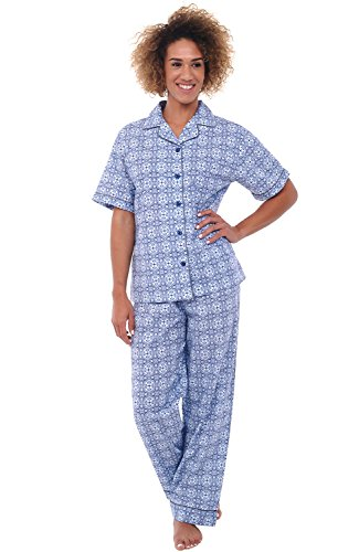(Alexander Del Rossa Womens Woven Cotton Pajama Set with Pants, Button Down Pjs, 3XL Victorian Mirrored Pattern (A0518V563X))