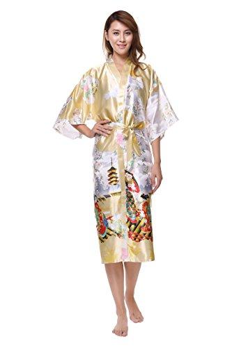 Gold Japanese Kimono (Luxuriously Soft and Silky Kimono Robe Women Sexy Japan (Champaign Gold))