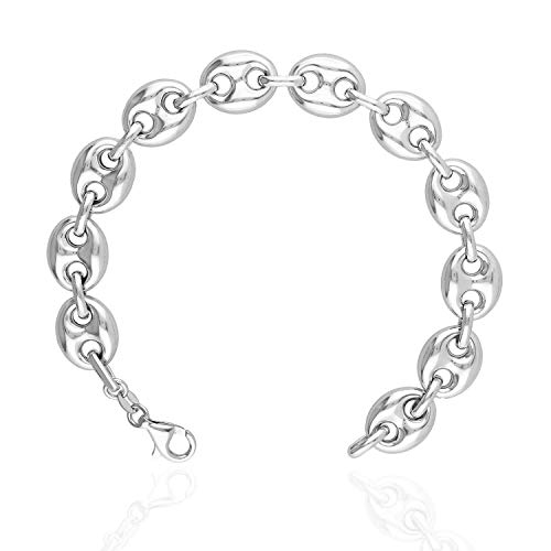 Italy 925 Sterling Silver 12mm Puffed Anchor Mariner Link Chain Bracelet 8.5
