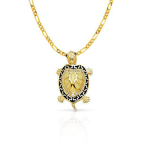 14K Yellow Gold Turtle Charm Pendant with 3.1mm Figaro 3+1 Chain Necklace - 22