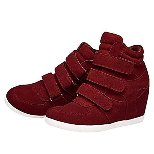 Comoda Sneakers Blu Vino US9 Donna UK7 CN41 Nappa Primavera Per TTSHOES Wine Zeppa Scarpe EU40 Marrone Stivali UqFxAX0