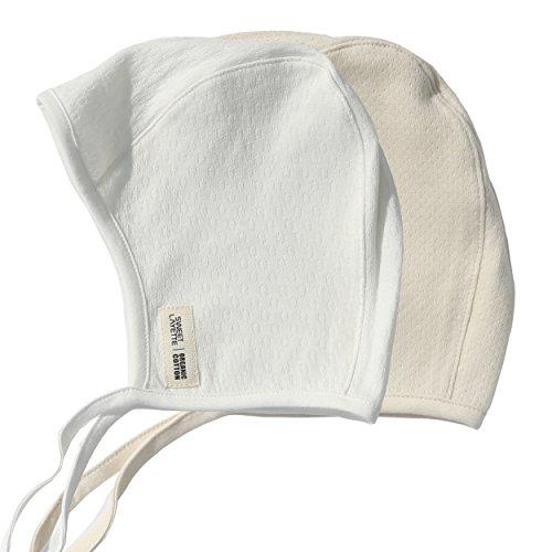Sweet Layette Newborn Bonnet Cap - Baby Pilot Hat - 100% Certified Organic Cotton (0-2 Months, 2 Set) - Layette Hat Cap