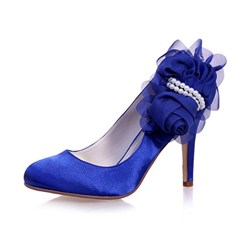 Flower Bridal Satin Pointed 11 Party Prom Pearl Wedding Toe Blue Shoes Court Women's Sarahbridal Szxf5623 qSIwgHw