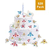 FishMM 520 Pieces Edible Wafer Paper Rainbow Busy Little Bees Baking Decorating Supplies, Rice Paper Cake Toppers Decorations
