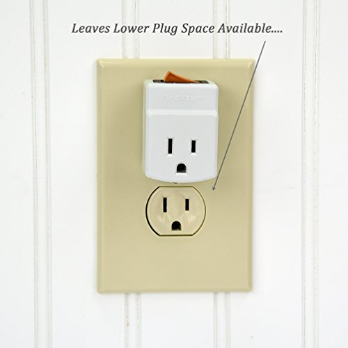 BindMaster 3 Prong Grounded Single Port Power Adapter for Outlet On//Off Switch