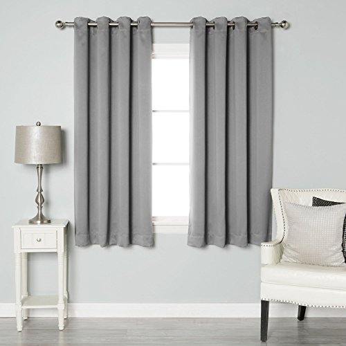 Best Home Fashion Thermal Insulated Blackout Curtains – Antique Bronze Grommet Top – Grey – 52″W x 54″L – (Set of 2 Panels)