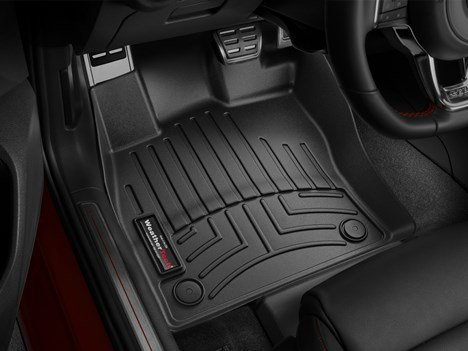Gti Floor (2015 Volkswagen 5-Door Hatch Golf/GTI/Rabbit/R32 Black Floor Liners -Front Set)