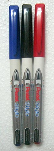 New Original Set of 3 Pentel Japan Stylo Fountain Pen Blue, Red & Black - India
