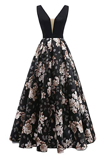 (Dydsz Evening Dresses Long for Women Prom Homecoming Dress with Pockets Print Floral D295 Black2 8)