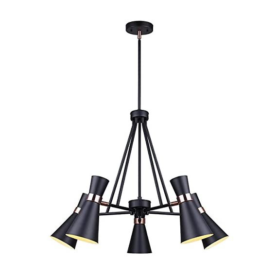 "Canarm ICH668A05BKZ Griffith 5-Lights Black And Bronze Rod Chandelier - Size: A, 26"" W x 26 - 74"" H Chandelier Light Rods Included: 2 x 6"", 3 x 12"" - kitchen-dining-room-decor, kitchen-dining-room, chandeliers-lighting - 41xzxAfmaNL. SS570  -"