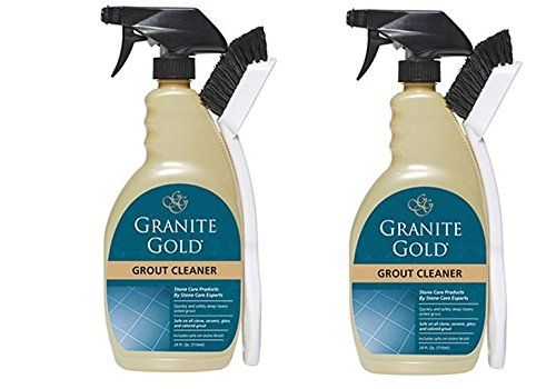 Granite Gold Grout Cleaner And Scrub Brush - Acid-Free Tile And Grout Cleaning For Dirt, Mildew, Mold - 24 Ounces (2 ()