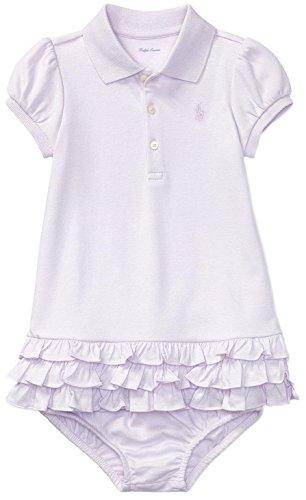 Ralph Lauren Infant Dresses (Ralph Lauren Baby Girls Ruffled Cotton Polo Dress (Summer Lilac, 18 Months))