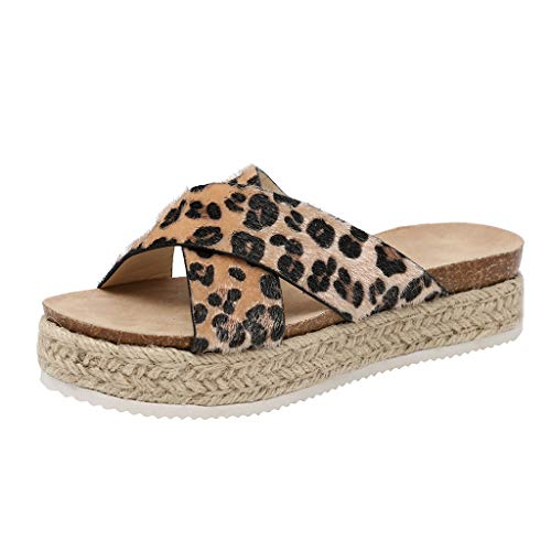 Cenglings Platform Slippers,Women's Fish Mouth Casual Espadrilles Thick-Bottom Wedges Sandals Leopard Print Beach Shoes Brown