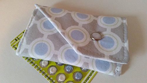 Blue Circles Snap (Birth Control Case Sleeve with Snap Closure - Light blue)
