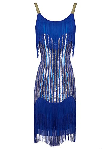 Sequin Fringe 1920s Short Flapper Inspired Party Dress Cocktail D20S021(L,Blue Gold) ()