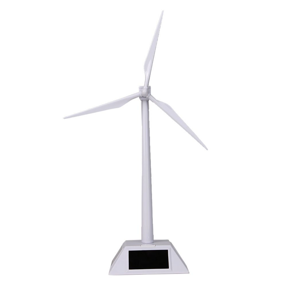 Alloet Desktop Wind Turbine Model Solar Powered Windmills ABS Plastics White for Education or Fun