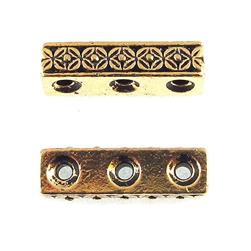 Gold 3 Hole Deco Rose Spacer Bar, TierraCast Pewter Separator (2 - Bar Spacer Pewter