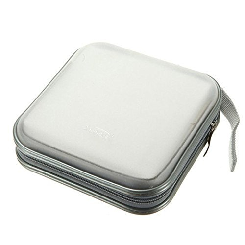 1 Gallon Stackable (Compia 2018 New 40 CD DVD Disc Organizer Storage Cover Carry Case Holder Box Bag (White))