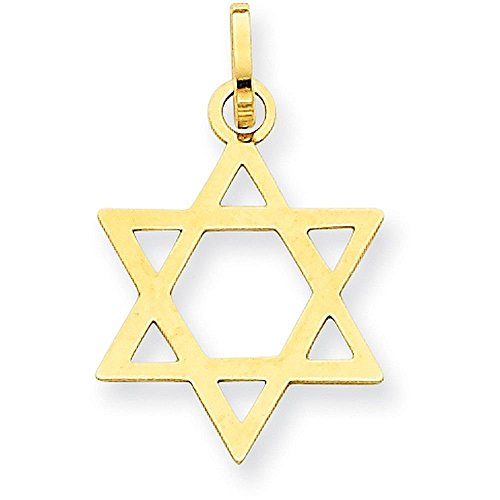 Star Slide Pendant (14K Yellow Gold Star of David Pendant - (0.83 in x 0.55 in))
