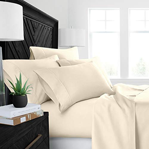 4PCs Sheet set 400 Thread count 100% Cotton Sheet Ivory Solid Full-XL Sheets Long Staple Cotton Fits Mattress Upto 15