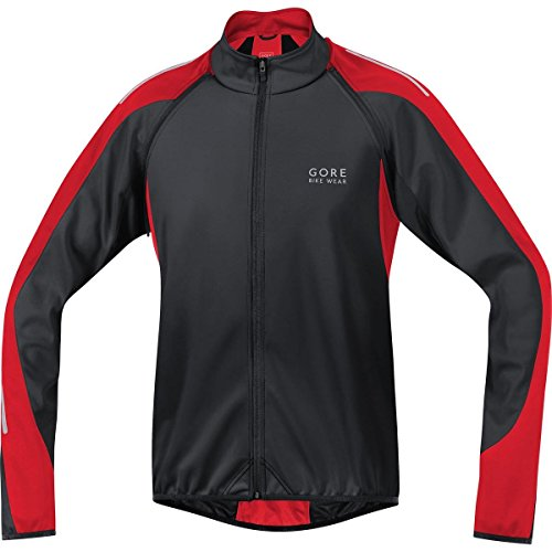 GORE BIKE WEAR Men's Phantom 2.0 Windstopper Soft Shell Jacket,Black/Red,Large