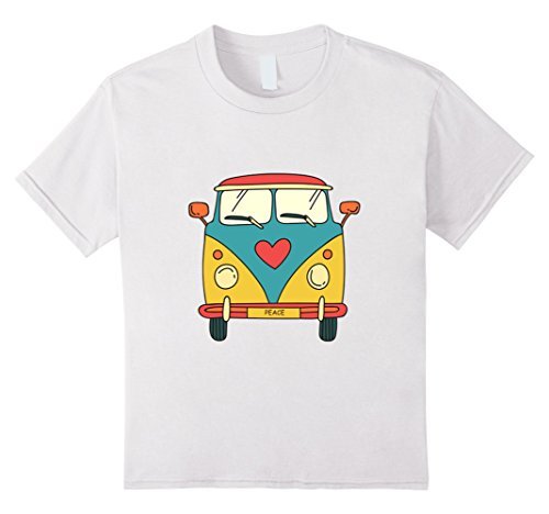 Kids Vintage Hippie Bus - Cute Van T-Shirt 6 White -