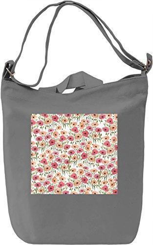 Flowers Print Borsa Giornaliera Canvas Canvas Day Bag| 100% Premium Cotton Canvas| DTG Printing|