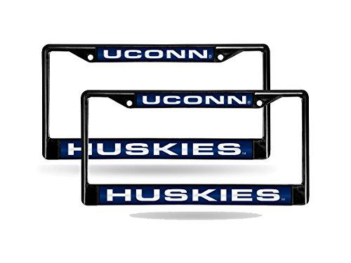 Rico Connecticut UCONN Huskies NCAA Black Metal (2) Laser Cut License Plate Frame Set