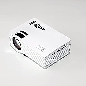 UNIC Multi-Media UC36 Mini LCD Projector for Home Cinema Theater with More than 20000 hours LED Lamp AV/VGA/USB/SD/Micro USB-White