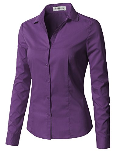 Violet Plaid Shirt - CLOVERY Women's Long Sleeve Slim Fit Button Down Shirt with Stretch Violet XS