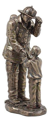 Ebros Child Thanking Fireman Statue Civil Service Hero Freedom Rescue Fire Fighter Decorative Sculpture
