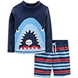 Simple Joys by Carter's Toddler Boy's 2-Piece Swimsuit Trunk and Rashguard Swimwear, Blue Shark, 5T