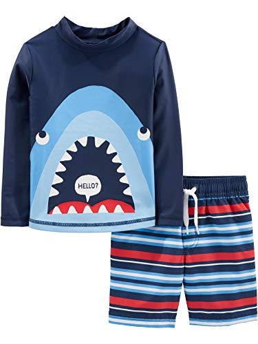 Simple Joys by Carter's Boys' 2-Piece Swimsuit Trunk and Rashguard, Blue Shark, 18 Months