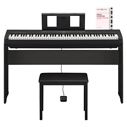 Yamaha P45 88 Key most affordable Compact Portable Graded Hammer action weighted keys and Built in Speaker System digital piano Keyboard in Black with piano bench , piano stand and Piano Book