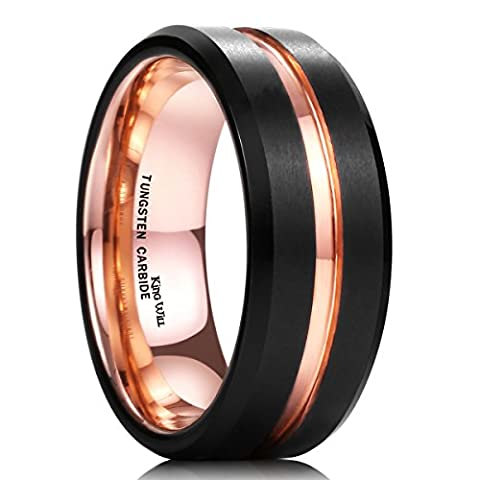 King Will DUO Mens 8mm Black Matte Finish Tungsten Carbide Ring 18K Rose Gold Plated Beveled Edge Wedding (Tungsten White Gold Ring)