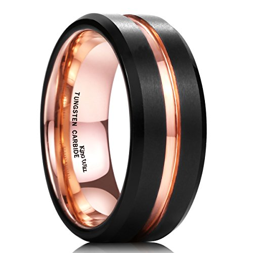 King Will DUO Mens 8mm Black Matte Finish Tungsten Carbide Ring 18K Rose Gold Plated Beveled Edge Wedding Band(11)