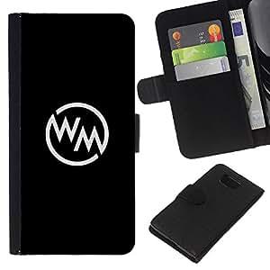 KLONGSHOP // Tirón de la caja Cartera de cuero con ranuras para tarjetas - marca cartas logo minimalista blanco negro - Samsung ALPHA G850 //