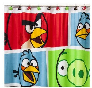 Image Unavailable Not Available For Color Angry Birds Fabric Shower Curtain