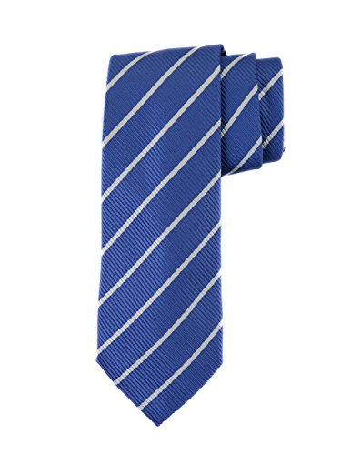 (Robert Jensen Finest Silk Handmade Men's Neck Tie - Mogador - Single Color with Silver Pencil Stripe (Blue))