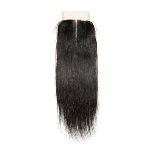 (SingleBest Brazilian Lace Closure Human Hair Stragiht Wave 100% Unprocessed Virign Remy Hair Closure 3.5
