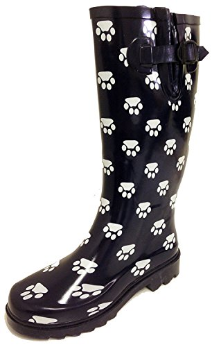 G4U Women's Rain Boots Multiple Styles Color Mid Calf Wellies Buckle Fashion Rubber Knee High Snow Shoes 2