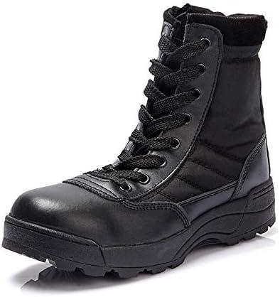 男性タクティカルブーツのために砂漠の戦闘ブーツは耐久性に優れたラウンドヘッドをバックパックを背負ってレースアップレザー屋外軍事ティンバーランドにスリップ (色 : 黒, サイズ : 26.5 CM)