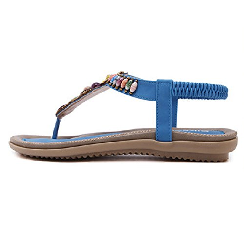 Flat On Sandals Rhinestone Women Flip Bohemian Blue Summer Btrada Thong Flops Slip Shoes qCEtnC8