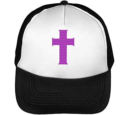 Purple Hipster Cross Graphic Gorras Hombre Snapback Beisbol Negro Blanco