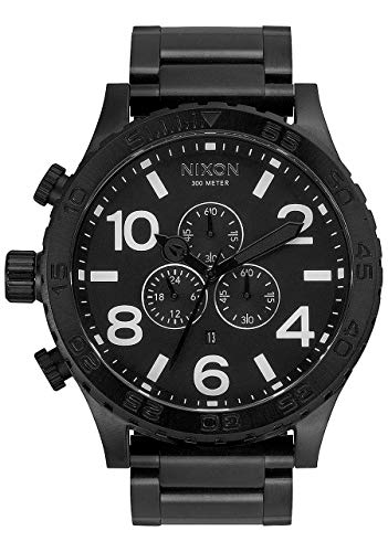 NIXON 51-30 Chrono A084 - All Black - 301M Water Resistant Men's Analog Fashion Watch (51mm Watch Face, 25mm Stainless Steel Band) (Watch Shop Uk Online)